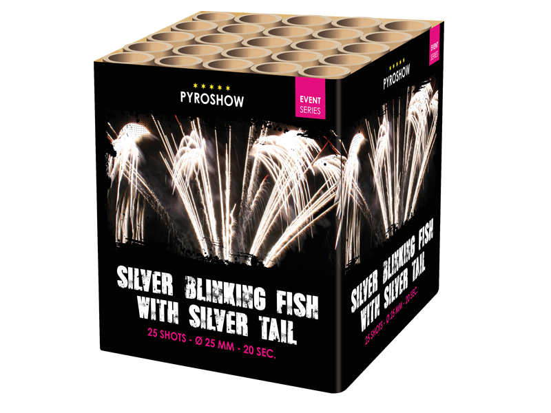 Silver Blinking Fish with Silver Tail